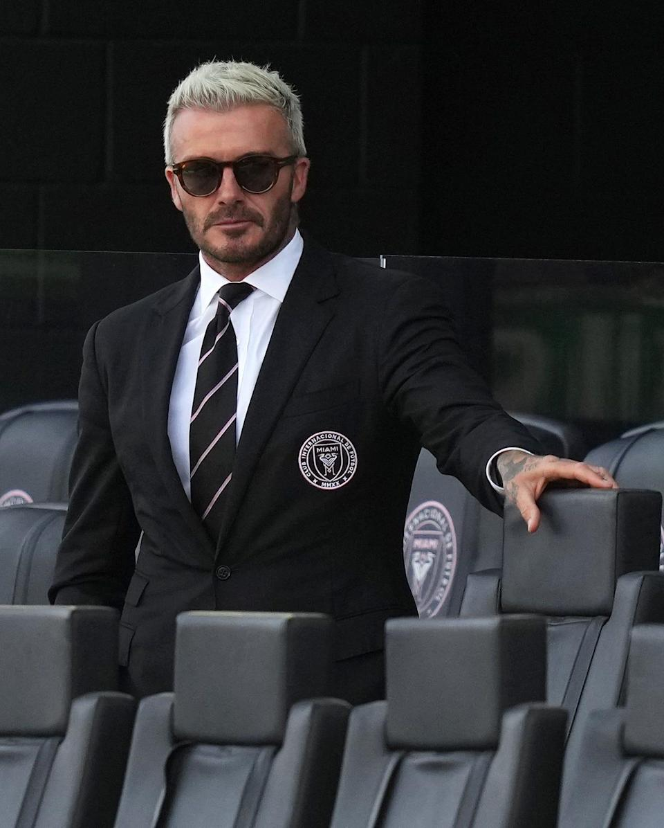 Inter Miami CF co-owner David Beckham watches as Inter Miami CF and Chicago Fire players warms up prior to a match at DRV PNK Stadium on Aug. 8.