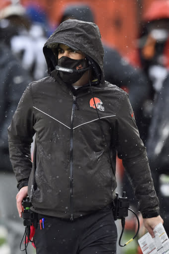 Cleveland Browns head coach Kevin Stefanski watches during the first half of an NFL football game against the Philadelphia Eagles, Sunday, Nov. 22, 2020, in Cleveland. (AP Photo/David Richard)