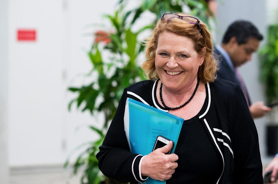 Sen. Heidi Heitkamp, (D-N. Dak)., leaves the Capitol after a vote on Thursday, June 14, 2018. (Photo By Bill Clark/CQ Roll Call)