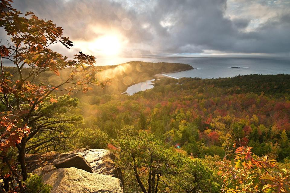 """""""We do want to remind fall campers that as the sun sets earlier in the fall, they should give themselves plenty of time to get back to camp during daylight hours after a day of exploring,"""" says Steve Lyons, director of Maine's Office of Tourism."""