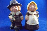 "<p>Cherubic pilgrim salt and pepper shakers were popular in the '70s, adding a playful touch to <a href=""https://www.goodhousekeeping.com/holidays/thanksgiving-ideas/g143/bold-thanksgiving-place-settings/"" rel=""nofollow noopener"" target=""_blank"" data-ylk=""slk:holiday table settings"" class=""link rapid-noclick-resp"">holiday table settings</a> across America. Today, you can buy similar versions on <a href=""https://go.redirectingat.com?id=74968X1596630&url=https%3A%2F%2Fwww.etsy.com%2Flisting%2F728039191%2Fpilgrim-salt-pepper-shakers&sref=https%3A%2F%2Fwww.redbookmag.com%2Flife%2Fg34669607%2F100-years-of-thanksgiving%2F"" rel=""nofollow noopener"" target=""_blank"" data-ylk=""slk:Etsy"" class=""link rapid-noclick-resp"">Etsy</a> if you're into the vintage look. </p>"