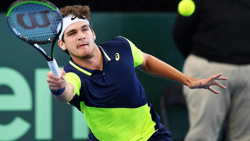 Thiago Seyboth, pictured here in action for Brazil against Australia in the Davis Cup.