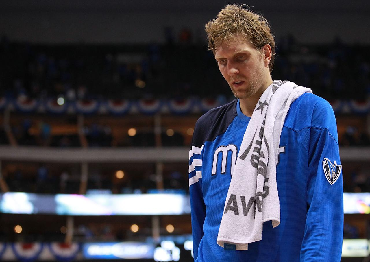 DALLAS, TX - MAY 03: Dirk Nowitzki #41 of the Dallas Mavericks walks off the court after a loss to the Oklahoma City Thunder during Game Three of the Western Conference Quarterfinal at American Airlines Center on May 3, 2012 in Dallas, Texas.  NOTE TO USER: User expressly acknowledges and agrees that, by downloading and or using this photograph, User is consenting to the terms and conditions of the Getty Images License Agreement.  (Photo by Ronald Martinez/Getty Images)