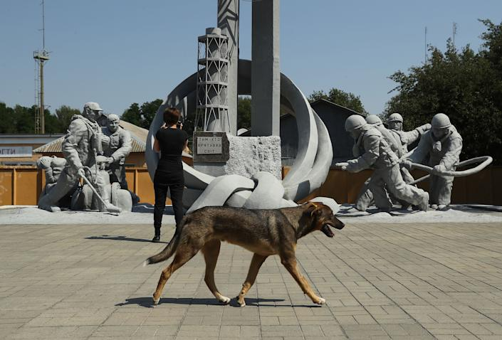 A tagged, stray dog walks past a tourist at a monument to firefighters who fought to contain the 1986 Chernobyl nuclear disaster inside the exclusion zone near the Chernobyl nuclear power plant on August 19, 2017.