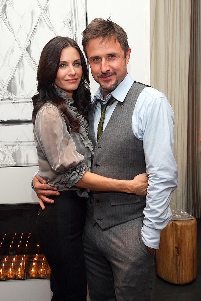 "After a decade together, Courteney Cox Arquette and husband David Arquette are still lovey-dovey. Jason Kempin/<a href=""http://www.wireimage.com"" target=""new"">WireImage.com</a> - January 22, 2009"