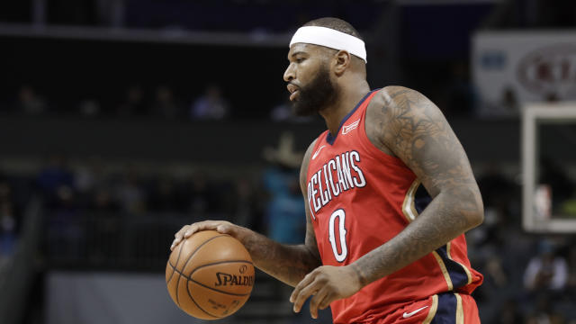 "<a class=""link rapid-noclick-resp"" href=""/nba/players/4720/"" data-ylk=""slk:DeMarcus Cousins"">DeMarcus Cousins</a> appeared to suffer a left leg injury against the <a class=""link rapid-noclick-resp"" href=""/nba/teams/hou/"" data-ylk=""slk:Houston Rockets"">Houston Rockets</a> on Friday. (AP)"