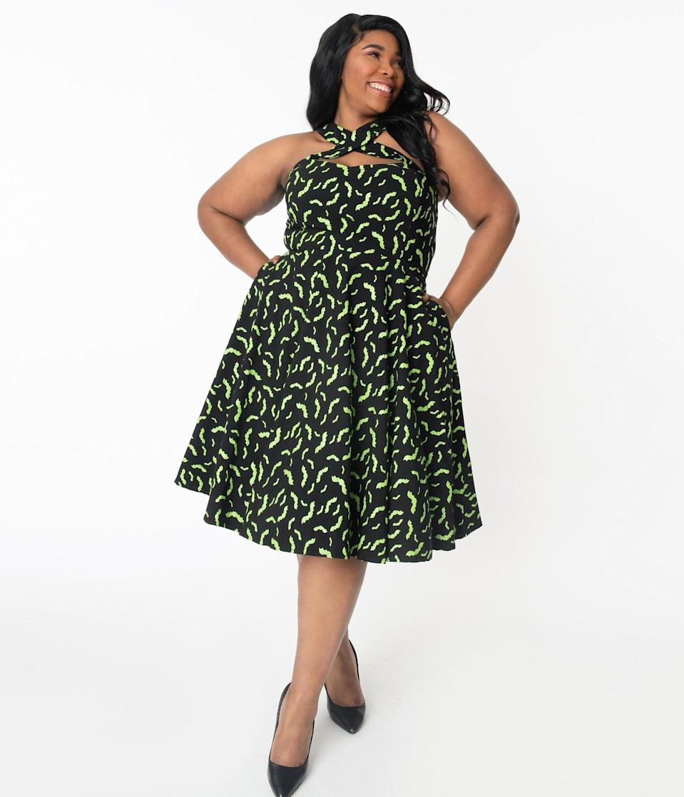 "<p>This charming <span>Unique Vintage Plus Size Black and Neon Green Bats Rita Flare Dress</span> ($78) is a <a class=""link rapid-noclick-resp"" href=""https://www.popsugar.com/Halloween"" rel=""nofollow noopener"" target=""_blank"" data-ylk=""slk:Halloween"">Halloween</a> must-have.</p>"