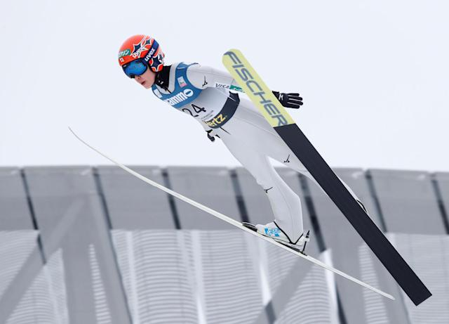 FIS Ski Jumping World Cup - Women's HS134 - Holmenkollen, Norway - March 11, 2018. Yuki Ito of Japan competes. NTB Scanpix/Terje Bendiks via REUTERS ATTENTION EDITORS - THIS IMAGE WAS PROVIDED BY A THIRD PARTY. NORWAY OUT. NO COMMERCIAL OR EDITORIAL SALES IN NORWAY.