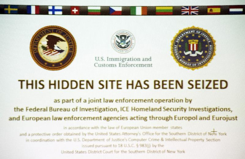 """""""This hidden site has been seized"""" is shown on the screenshot of the illegal internet retail platform """"SilkRoad 2.0"""""""