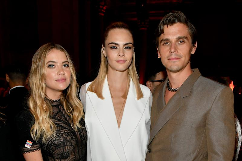 NEW YORK, NEW YORK - JUNE 17: Ashley Benson, Cara Delevingne and Antoni Porowski attend TrevorLIVE NY 2019 at Cipriani Wall Street on June 17, 2019 in New York City. (Photo by Craig Barritt/Getty Images for The Trevor Project)