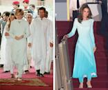 Princess Diana wearing the Pakistani national dress while visiting Pakistan in 1996; Kate Middleton wearing Catherine Walker in Pakistan in 2019