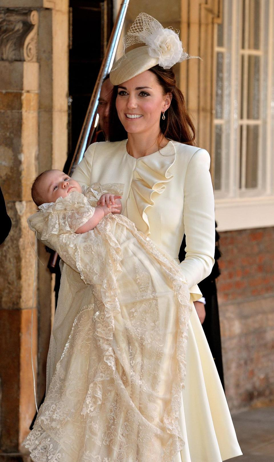 <p>The Duchess donned a lemon yellow Alexander McQueen look complete with a matching Jane Taylor hat for Prince George's christening.</p><p><i>[Photo: PA]</i></p>