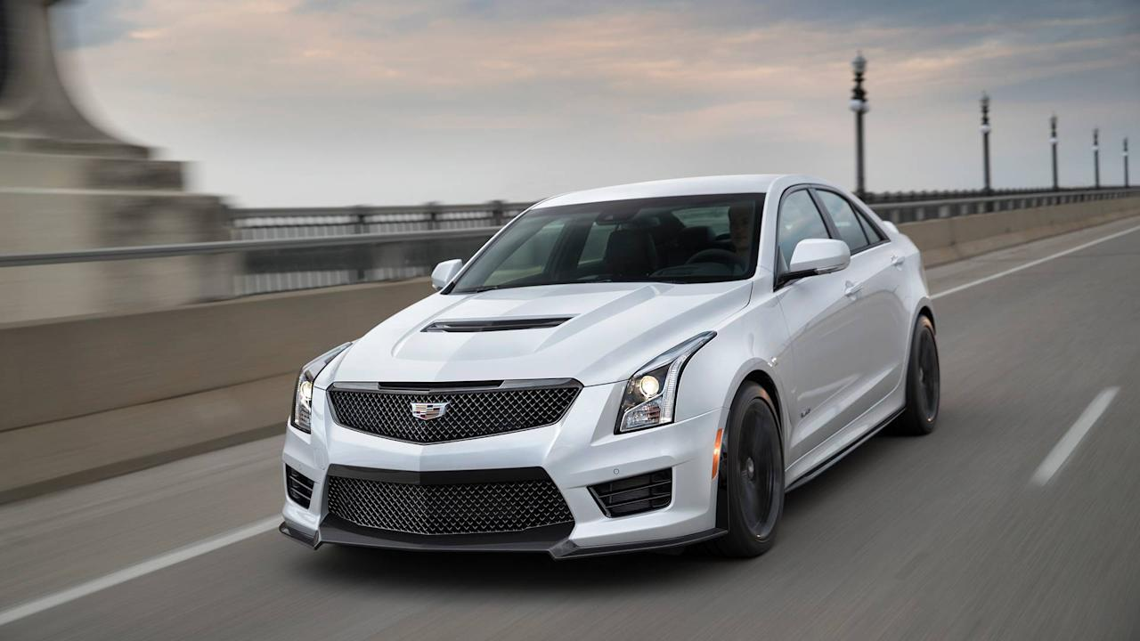 """<p>The <a rel=""""nofollow"""" href=""""https://www.motor1.com/cadillac/ats/"""">Cadillac ATS</a>-V coupe and sedan pack a biturbo V6 engine producing 464 horsepower and 445 pound-feet of torque, sending the power through a six-speed manual gearbox to the rear wheels. That's enough power to rocket both body styles to 60 miles per hour in 3.8 seconds. Top speed is 189 mph.</p>"""