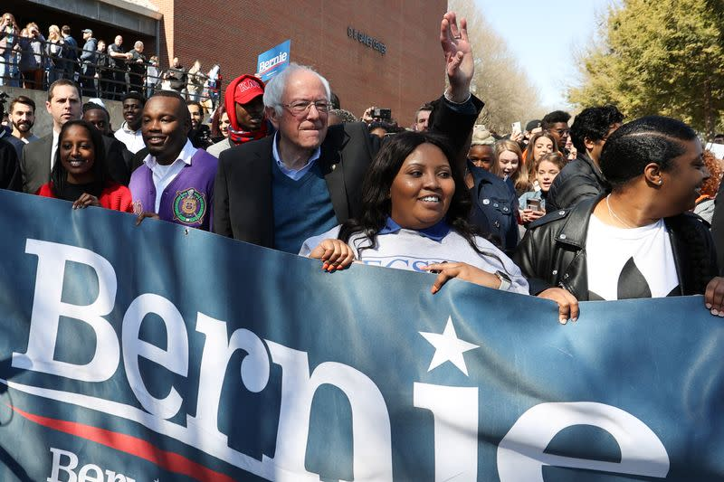 Democratic 2020 U.S. presidential candidate Sanders rallies with supporters in Winston-Salem, North Carolina