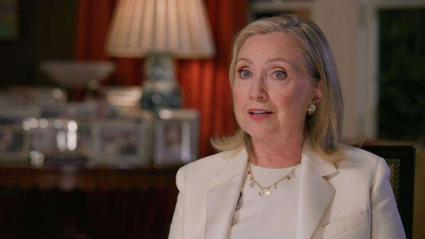 PHOTO: Former U.S. Secretary of State Hillary Clinton speaks by video feed during the virtual 2020 Democratic National Convention, Aug. 19. 2020. (Democratic National Convention)