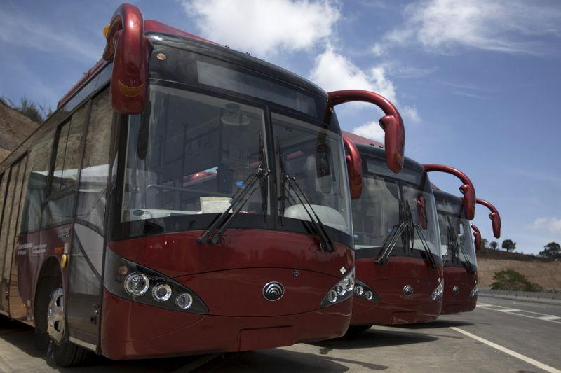 Yutong buses are seen during the opening ceremony of a new avenue and the inauguration of a public transportation route in Los Teques, Venezuela