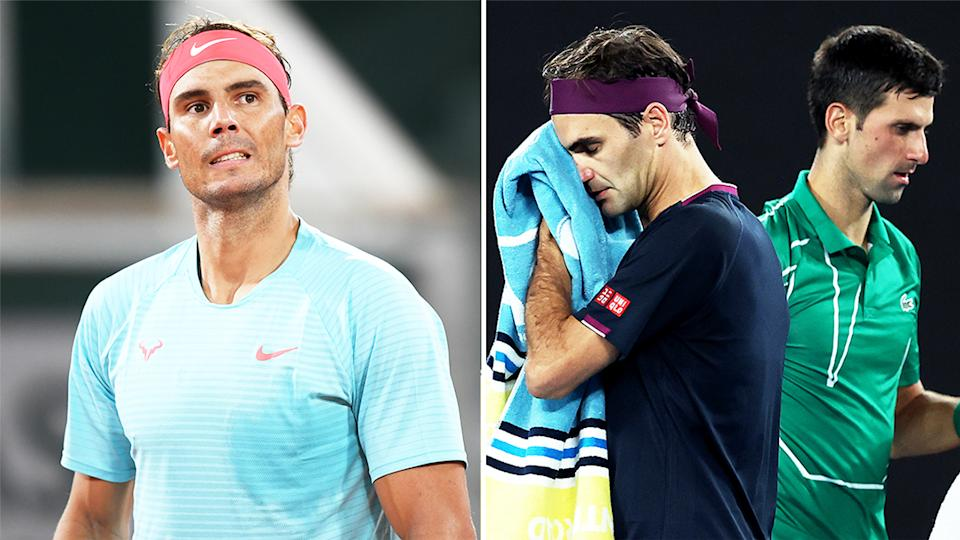 Rafa Nadal (pictured left) looking at his player's box, and Novak Djokovic and Roger Federer (pictured right) passing each other.