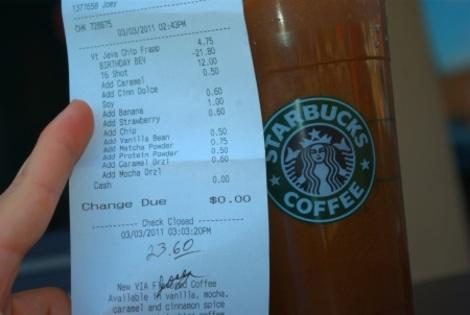 Warren's super-sized Starbucks bill.