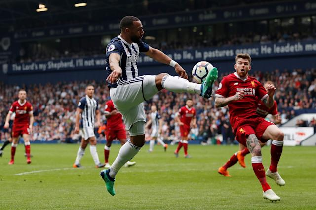 """Soccer Football - Premier League - West Bromwich Albion v Liverpool - The Hawthorns, West Bromwich, Britain - April 21, 2018 West Bromwich Albion's Matt Phillips in action with Liverpool's Alberto Moreno Action Images via Reuters/Andrew Boyers EDITORIAL USE ONLY. No use with unauthorized audio, video, data, fixture lists, club/league logos or """"live"""" services. Online in-match use limited to 75 images, no video emulation. No use in betting, games or single club/league/player publications. Please contact your account representative for further details."""