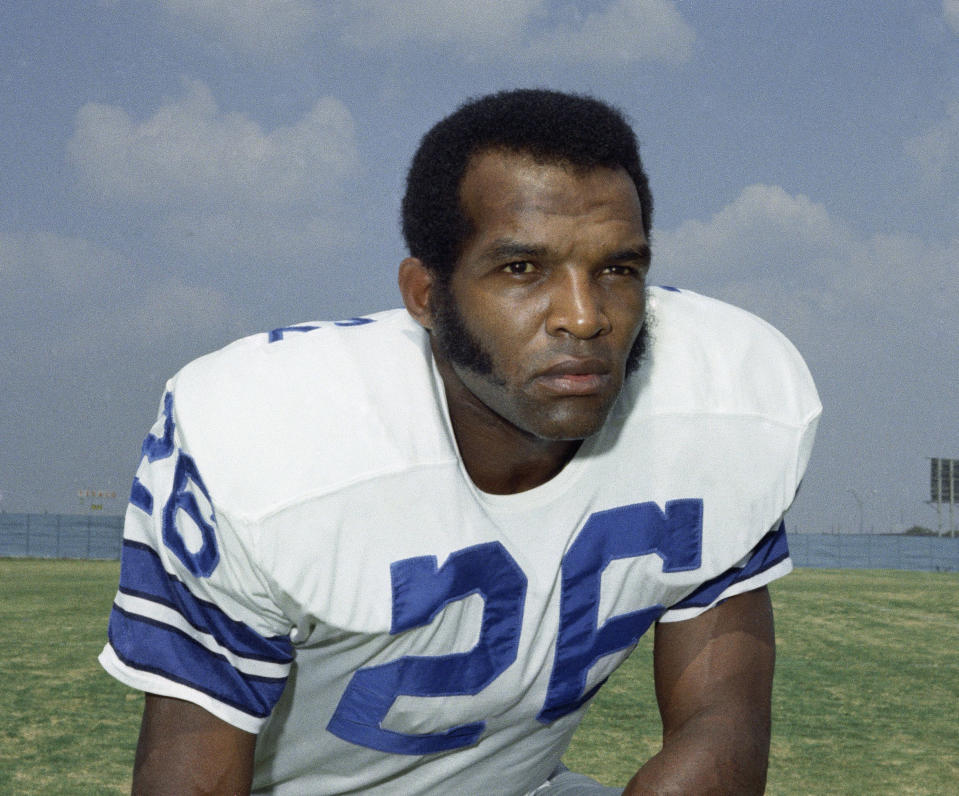 FILE - This Sept. 1972, file photo shows cornerback Herb Adderley, of the Dallas Cowboys NFL football team. Hall of Fame cornerback Herb Adderley has died. He was 81. His death was confirmed Friday, Oct. 30, 2020, on Twitter by nephew Nasir Adderley, a safety for the Los Angeles Chargers. Adderley played on six NFL title teams over a 12-year career with Green Bay and Dallas. (AP Photo/File)