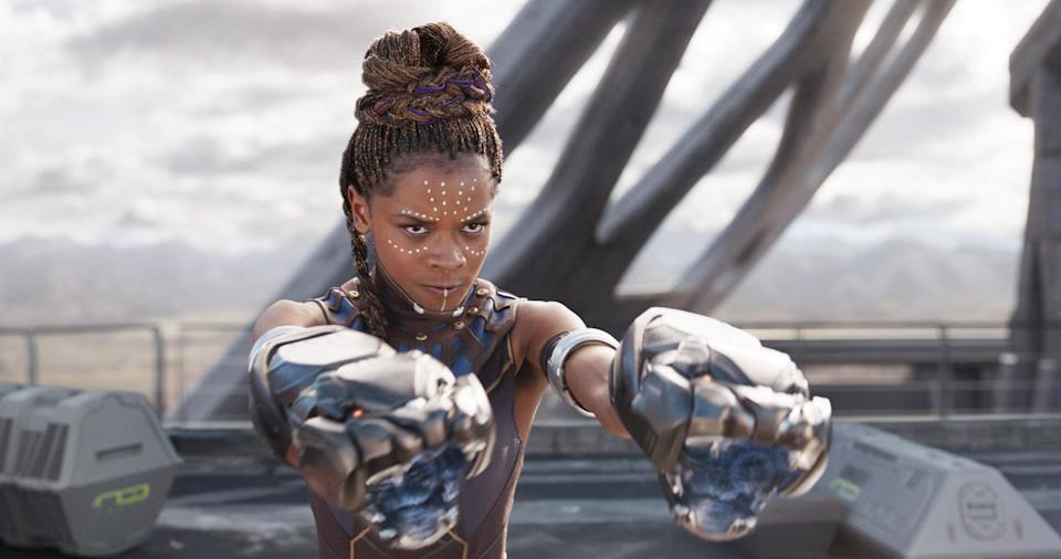 Letitia Wright as Shuri in warrior princess mode in <em>Black Panther</em> (Photo: Marvel/Walt Disney Studios Motion Pictures/courtesy Everett Collection)