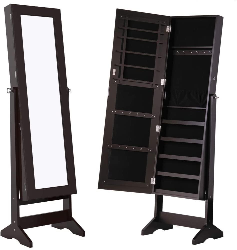 """<h3><a href=""""https://www.amazon.com/dp/B01FMAXC7U/ref=dp_prsubs_1"""" rel=""""nofollow noopener"""" target=""""_blank"""" data-ylk=""""slk:Standing Mirror With Jewelry Storage"""" class=""""link rapid-noclick-resp"""">Standing Mirror With Jewelry Storage </a></h3><br>A killer decor-storage combo — this sleek standing mirror not only opens up the visual depth inside your tiny space but it also literally opens up to streamline and store your jewelry essentials too.<br><br><strong>Langria</strong> Standing Mirror Jewelry Armoire, $, available at <a href=""""https://www.amazon.com/LANGRIA-Lockable-Organizer-Adjustable-Bracelets/dp/B01FMAXC34/ref=sr_1_122"""" rel=""""nofollow noopener"""" target=""""_blank"""" data-ylk=""""slk:Amazon"""" class=""""link rapid-noclick-resp"""">Amazon</a>"""