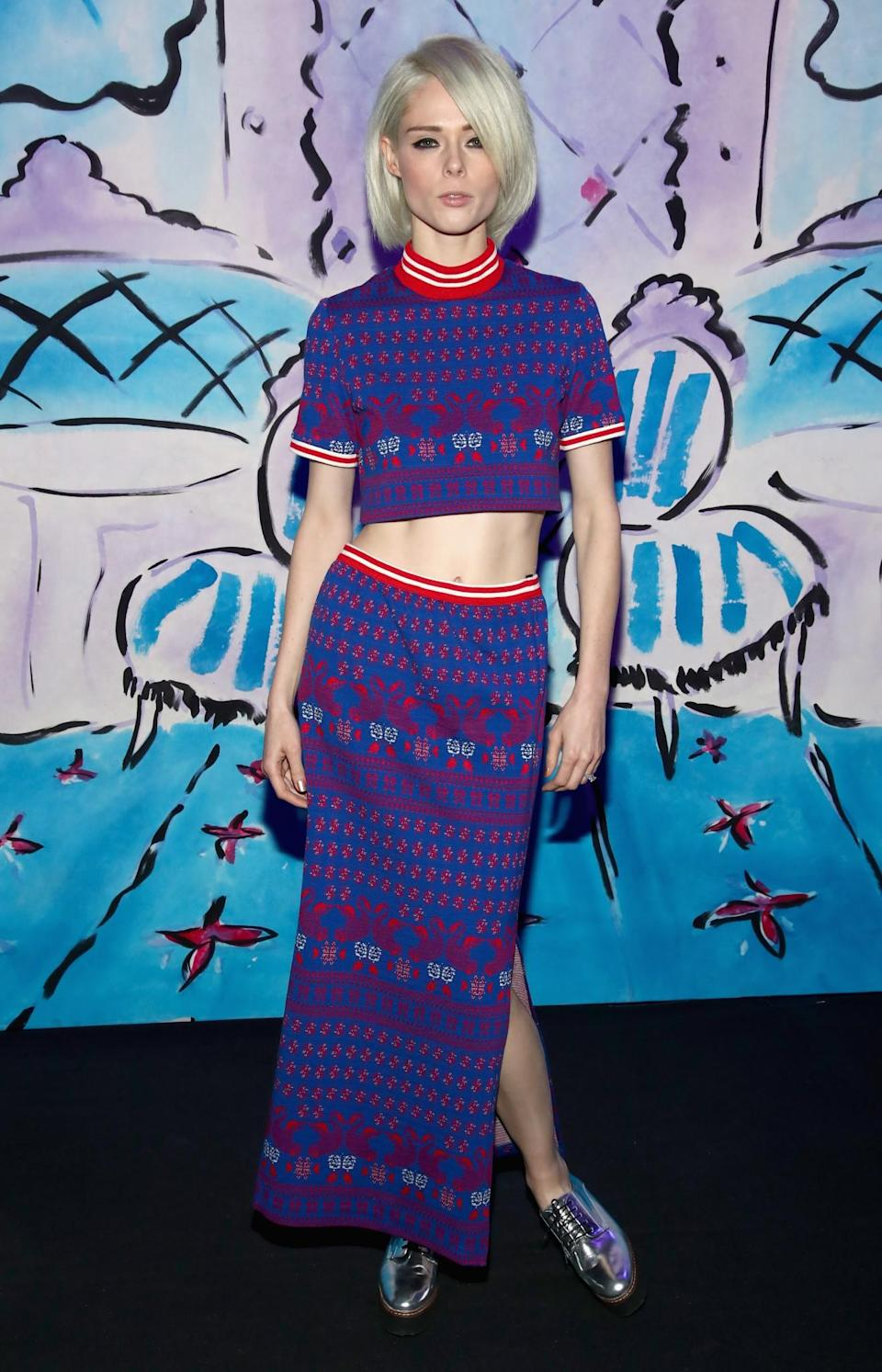 <p>Coco Rocha opted for a printed knitted co-ord. <i>[Photo: Getty]</i> </p>