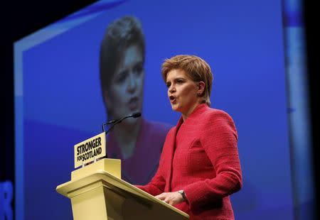 Party leader Nicola Sturgeon speaks at the Scottish National Party's conference in Aberdeen, Scotland