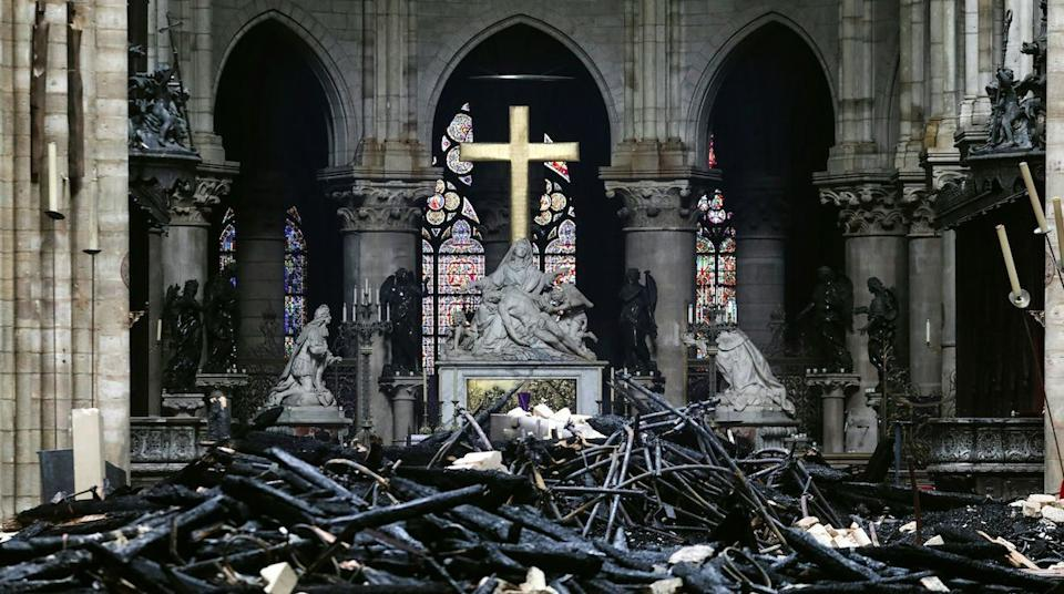 Much of the roof was damaged in the fire, and experts say it will take years to access the stability of the church. (Getty)