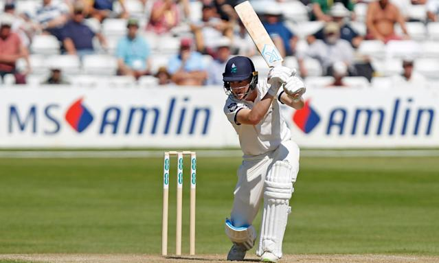 The Yorkshire teenager Harry Brook hits out against Essex on his way to making his maiden century for the county.
