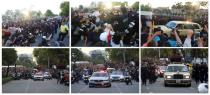 A combination of pictures shows police scuffling with a group of anti-government demonstrators near royal motorcade carrying Thailand's Queen Suthida and Prince Dipangkorn in Bangkok