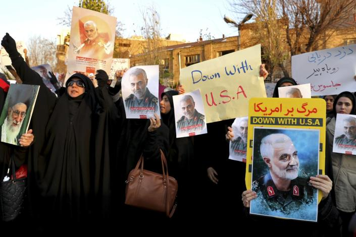 """<span class=""""caption"""">Protesters during a demonstration in front of the British Embassy in Tehran, Iran on Jan. 12.</span> <span class=""""attribution""""><a class=""""link rapid-noclick-resp"""" href=""""http://www.apimages.com/metadata/Index/Iran-Plane-Crash/649e5ceebafd47e1aead7f237c80f1c8/7/0"""" rel=""""nofollow noopener"""" target=""""_blank"""" data-ylk=""""slk:AP Photo/Ebrahim Noroozi"""">AP Photo/Ebrahim Noroozi</a></span>"""
