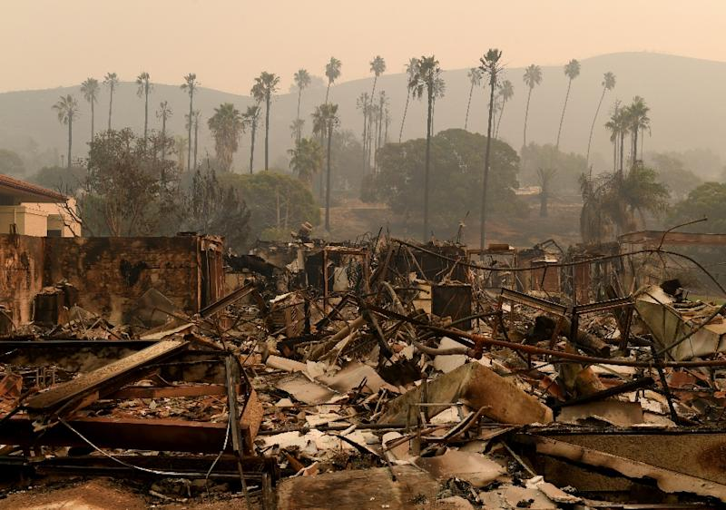 Trees are seen through the haze at the burned-out Vista del Mar Hospital after the Thomas wildfire swept through Ventura, California (AFP Photo/MARK RALSTON)