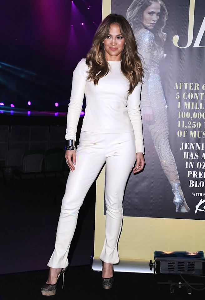 MELBOURNE, AUSTRALIA - DECEMBER 11:  Jennifer Lopez poses at a press call at Rod Laver Arena on December 11, 2012 in Melbourne, Australia.  (Photo by Graham Denholm/WireImage)
