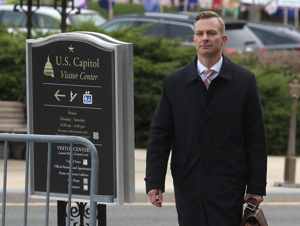 David Holmes walks to a closed-door deposition on Friday. (Photo: Mark Wilson/Getty Images)