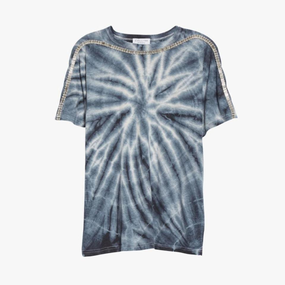 "$205, COLLINA STRADA. <a href=""https://collinastrada.com/collections/t-shirts/products/charcoal-tie-dye-hemp-sporty-spice-tee"" rel=""nofollow noopener"" target=""_blank"" data-ylk=""slk:Get it now!"" class=""link rapid-noclick-resp"">Get it now!</a>"