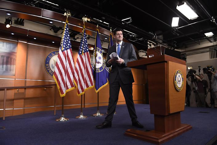 Speaker of the House Paul Ryan announcing his retirement on a press conference on Capitol Hill on April 11. (Photo: Saul Loeb/AFP/Getty Images)