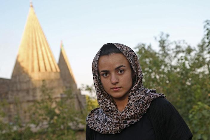 Yazidi woman Ashwaq Haji, 19, sought refuge in Germany from the jihadist she says held her as a sex slave but fled back to Iraq in shock after running into him in a German supermarket earlier this year (AFP Photo/-)