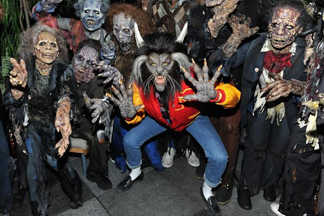"Heidi Klum and guests recreated Michael Jackson's ""Thriller"" video for her annual Halloween blowout. (Photo: Getty Images)"