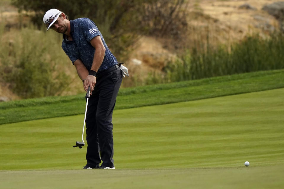 Lanto Griffin putts on the ninth hole during the second round of the Zozo Championship golf tournament Friday, Oct. 23, 2020, in Thousand Oaks, Calif. (AP Photo/Marcio Jose Sanchez)