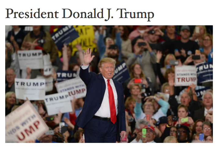The top of Donald Trump's official biography. (Photo: WhiteHouse.gov)