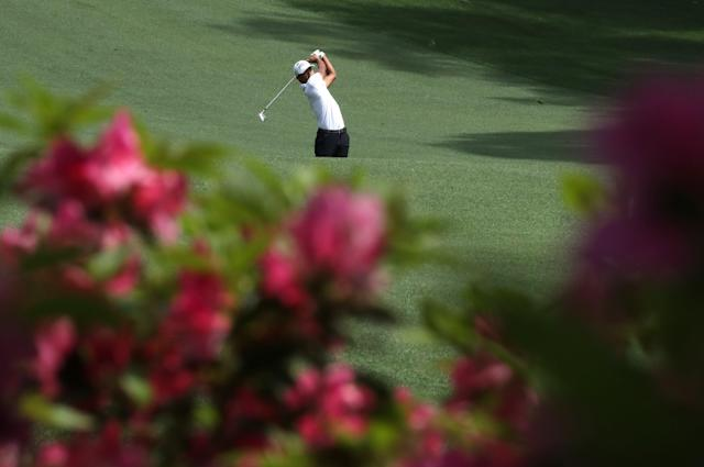 Satoshi Kodaira of Japan hits on the 10th fairway during practice for the 2018 Masters golf tournament at Augusta National Golf Club in Augusta, Georgia, U.S. April 2, 2018. REUTERS/Lucy Nicholson