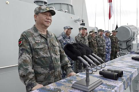 Chinese President Xi Jinping speaks after reviewing the Chinese People's Liberation Army (PLA) Navy fleet in the South China Sea in April 2018. Photo: Xinhua via AP