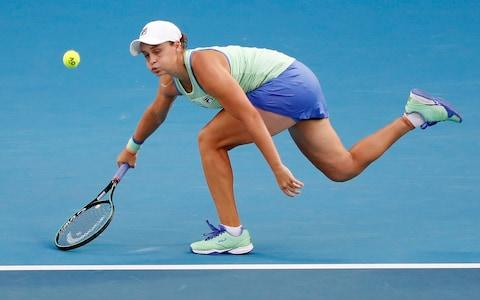Australia's Ashleigh Barty in action during her match against Alison Riske