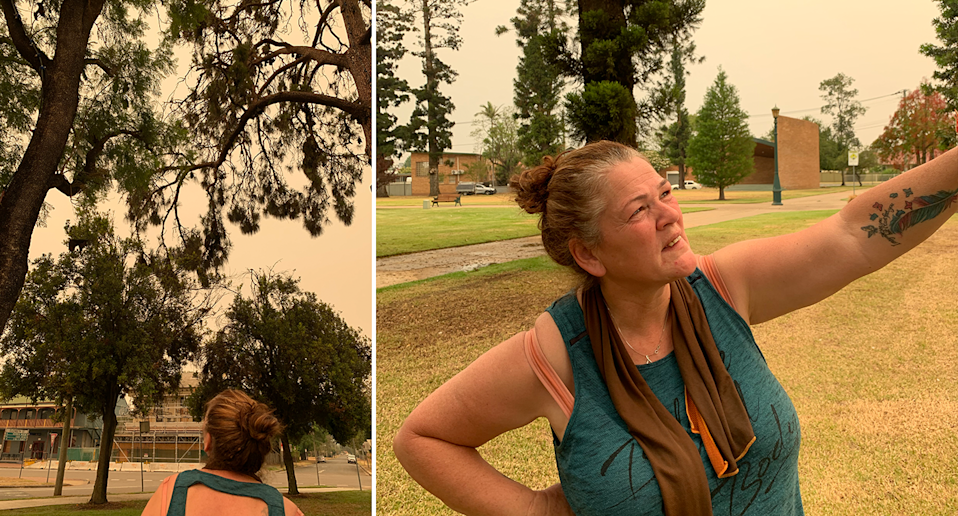 Split screen. Ms McSweeney's back as she looks at a tree and then front on as she points.
