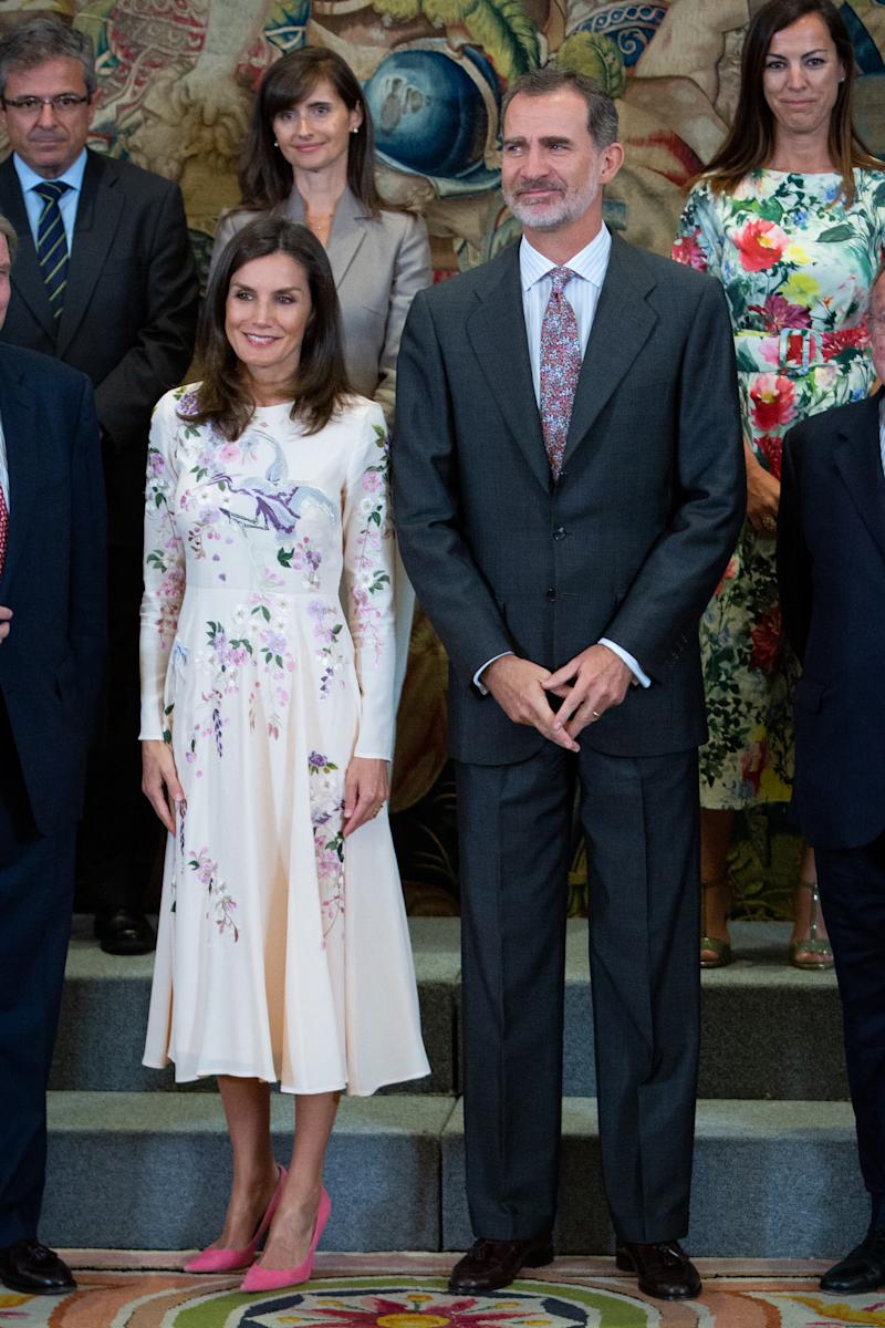 MADRID, SPAIN - JULY 08: Queen Letizia of Spain (L) and King Felipe VI of Spain (R) attend several audiences at Zarzuela Palace on July 08, 2019 in Madrid, Spain. (Photo by Pablo Cuadra/Getty Images)
