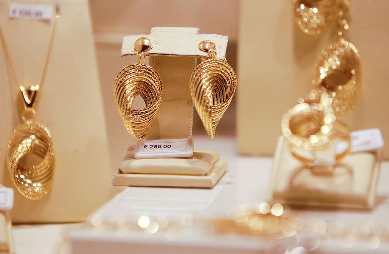 Gold jewels are seen in a jewellery shop in downtown Rome