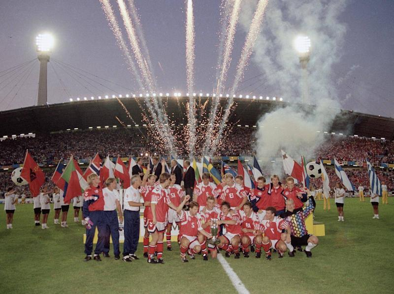 Denmark celebrate their unlikely Euro 1992 win (Getty)