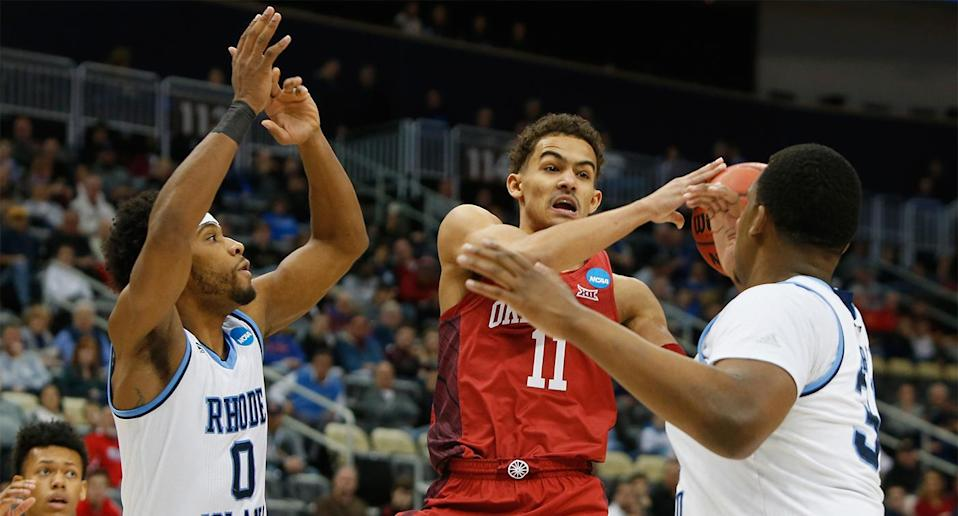 Trae Young scored 28 points in the Sooner loss to Rhode Island. (AP)