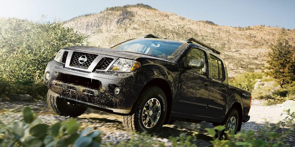 "<p>The <a href=""https://www.caranddriver.com/nissan/frontier"" rel=""nofollow noopener"" target=""_blank"" data-ylk=""slk:Nissan Frontier"" class=""link rapid-noclick-resp"">Nissan Frontier</a> that's been around since 2005 will finally be replaced for 2022. Until then, you can still get the first-generation pickup, and nobody will be able to tell if you're driving a 2005 or 2021 model year. A 7.0-inch touchscreen comes standard, but the Frontier still lacks many interior frills found in other mid-size trucks like Android Auto and Apple CarPlay. Tie-down cleats and other accessories ensure the Frontier will still get the typical pickup jobs done, and Pro-4X or Desert Runner trims lift its capabilities with off-road shocks and larger tires. The Frontier has lasted through four different presidential administrations, but it's time to retire. We expect a big improvement in the <a href=""https://www.caranddriver.com/news/a35409889/2022-nissan-frontier-revealed/"" rel=""nofollow noopener"" target=""_blank"" data-ylk=""slk:new Frontier coming for 2022"" class=""link rapid-noclick-resp"">new Frontier coming for 2022</a>. <a class=""link rapid-noclick-resp"" href=""https://www.caranddriver.com/nissan/frontier/specs"" rel=""nofollow noopener"" target=""_blank"" data-ylk=""slk:MORE NISSAN FRONTIER SPECS"">MORE NISSAN FRONTIER SPECS</a></p><ul><li>Base price: $27,940</li><li>Powertrain: 261-hp 4.0L V-6, nine-speed automatic transmission</li><li>Max Towing: 6710 lb</li></ul>"